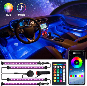 Interior Car Lights with APP & Remote Control & 4 Buttons Control 2 in 1 Design 4pcs 48 LEDs Car LED Strip Lights Multicolor Music Lighting Kit Under Dash Car Lighting Sync to Music DC 12V