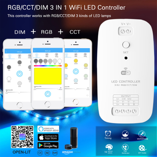 3 in 1 RGB CCT DIM WiFi Controller Works with Alexa for Flexible LED Strip Lights