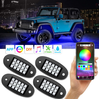 RGB LED Rock Lights with APP RF Control 4 Pods Multicolor Neon Underglow Waterproof Music Lighting Kit for Jeep Off Road Truck Car ATV SUV Motorcycle