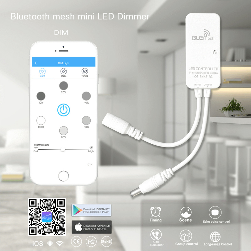LED Bluetooth Mesh Controller for Dimmable RGB RGBW CCT Flexible LED Strip Lights